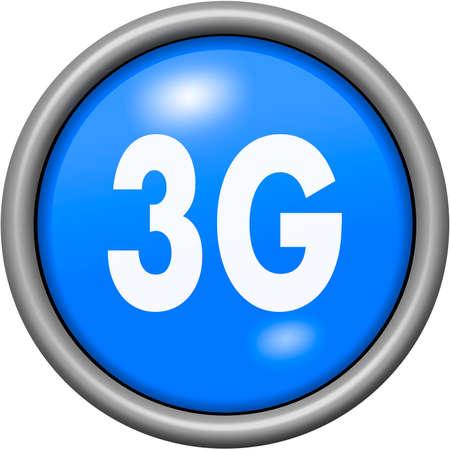 3g: Blue design 3G in round 3D button