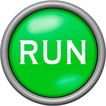 Green design run in round 3D button