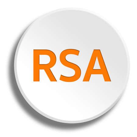 Orange rsa in round white button with shadow
