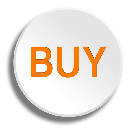 remittance: Orange buy in round white button with shadow Stock Photo