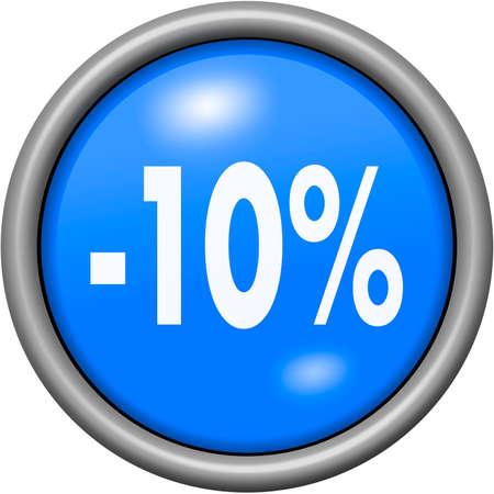 remittance: Blue design 10 percent in round 3D button