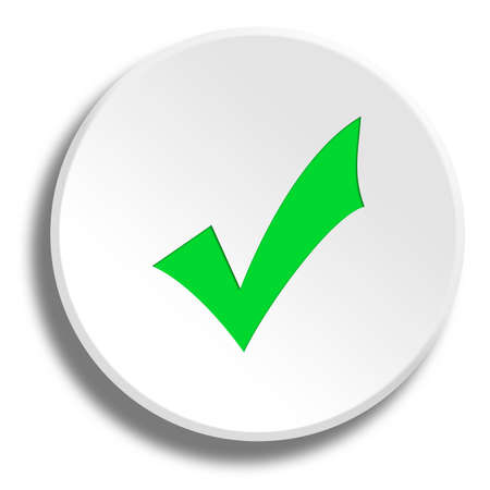 Green ok in round white button with shadow Stock Photo