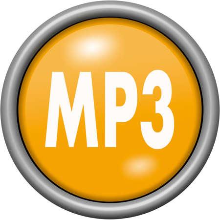 Orange design MP3 in round 3D button Фото со стока