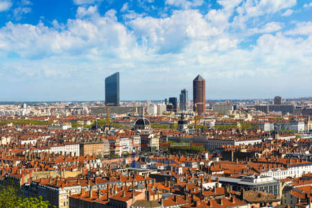 oxygene: Buildings and rooftop of Lyon city Stock Photo