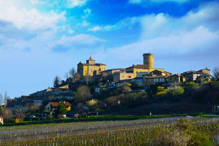 alpes: Oingt village in Beaujolais land during a sunny day