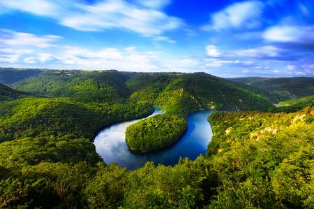 Meander of Queuille in long exposure in Auvergne land, France 版權商用圖片