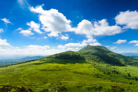 Puy de Dome mountain and Auvergne landscape, France