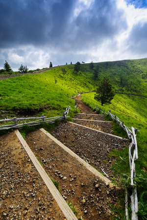 aura: Footpath for peak of the Puy Pariou in Auvergne, France