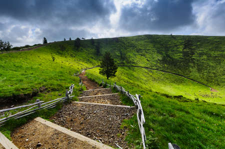 ramble: Footpath for peak of the Puy Pariou in Auvergne, France