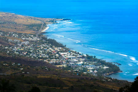 Aerial view of Saint Leu at Reunion Island during a sunny day Stock Photo