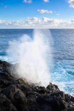 Le Souffleur or a natural geyser at Reunion Island close to Saint Leu city