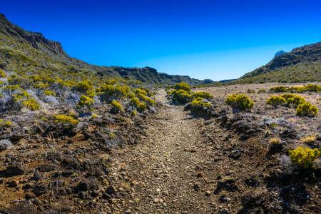 Hiking path, Piton de La Fournaise at Reunion Island