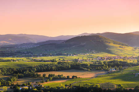 Brouilly hill, Cercie village and vineyards in Beaujolais land Stock Photo