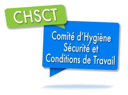 Franse CHSCT-initiaties in twee gekleurde bubbels Stockfoto