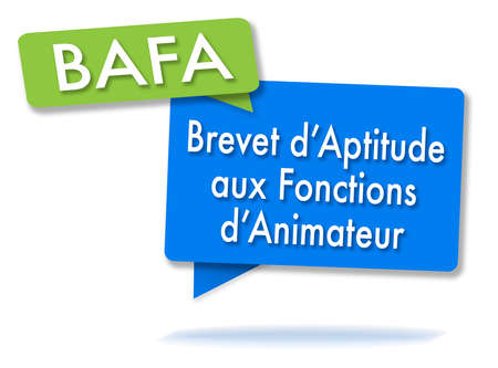 French BAFA certificate initals in two colored bubbles