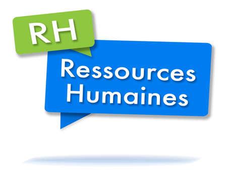 Franse RH-initialen in twee gekleurde bubbels