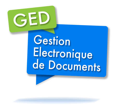 French GED initals in two colored bubbles