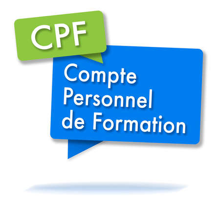 Franse CPF-initialen in twee gekleurde bubbels Stockfoto
