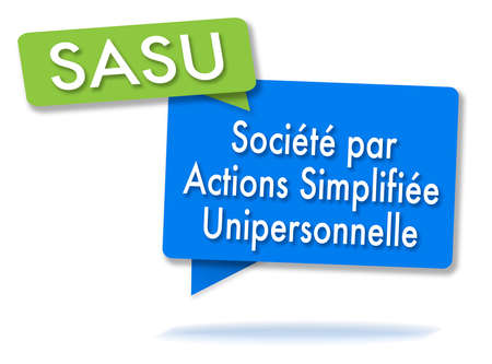French SASU initals in two colored bubbles
