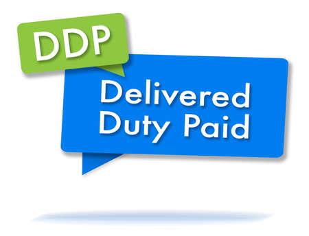DDP incoterms-initiaties in twee gekleurde bubbels