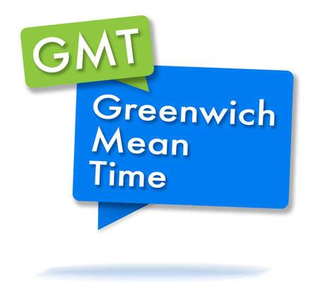 GMT-initialen in twee gekleurde bubbels Stockfoto