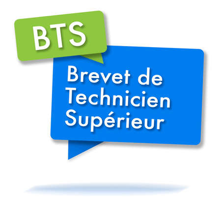 French BTS certificate initals in two colored bubbles