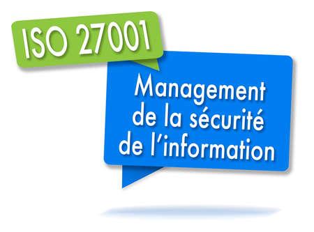 ISO 27001-kwaliteitsbeheer in twee gekleurde bubbels Stockfoto