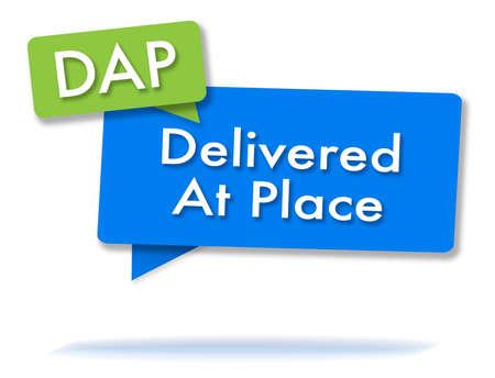 DAP incoterms-initiaties in twee gekleurde bubbels Stockfoto
