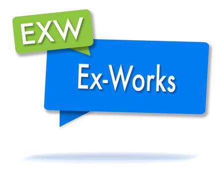 EXW incoterms-initiaties in twee gekleurde bubbels