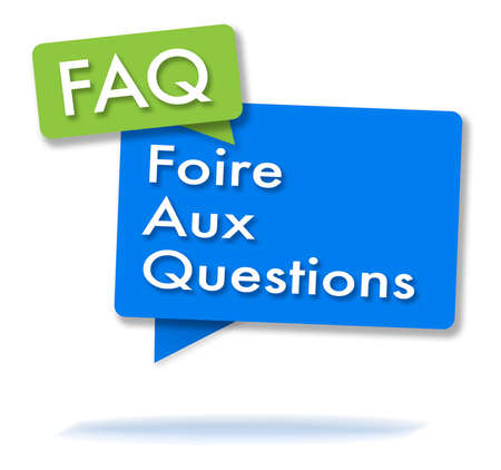 French FAQ initals in two colored bubbles