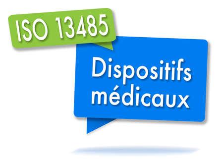 ISO 13485 kwaliteitsbeheer in twee gekleurde bubbels Stockfoto