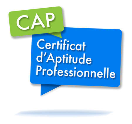 French CAP initals in two colored bubbles Фото со стока