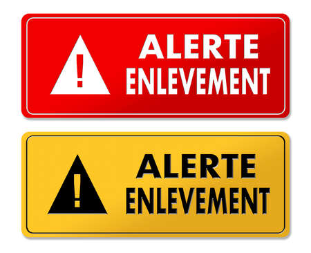 Abduction Alert warning panels in French translation in 2 colors