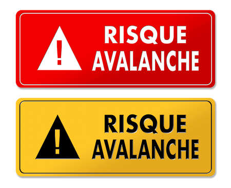 Avalanche Risk warning panels in French translation in 2 colors Stock Photo