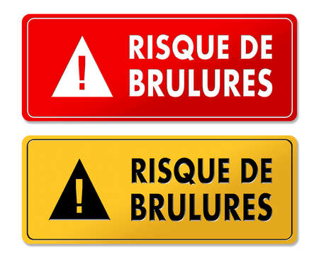 Risk of Burns warning panels in French translation in 2 colors