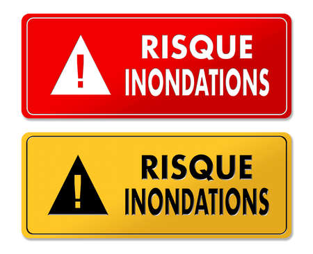 Flood Risk warning panels in French translation in 2 colors
