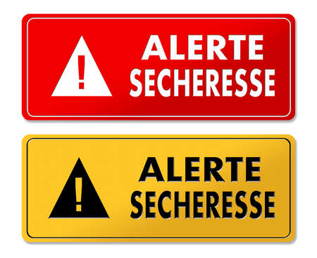 Drought Alert warning panels in French translation in 2 colors