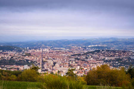 Panoramic view of Saint Etienne city during a beautiful day