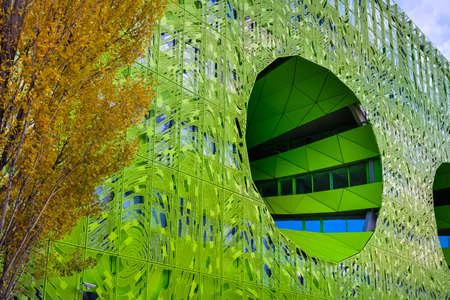 Green cube building at Lyon city, France