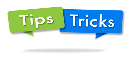 Tips and tricks illustration in two colored bubbles blue and green