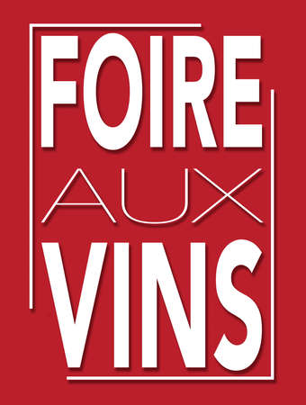Wine fair illustration with a red background in French