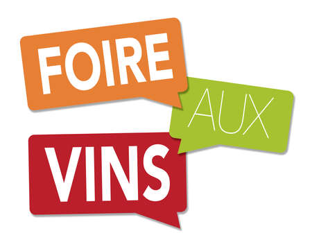 Wine fair illustration with a white background in French Stock Photo