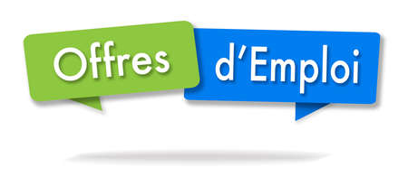 Job offers illustration in two colored bubbles in French blue and green
