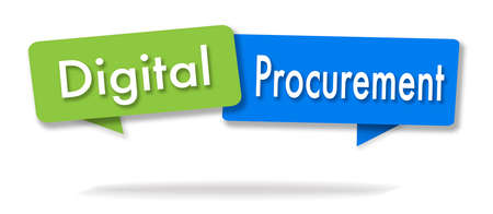 Digital procurement illustration in two colored bubbles blue and green Stock Photo