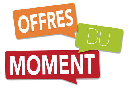 Current offers illustration with a white background in French Stock Photo
