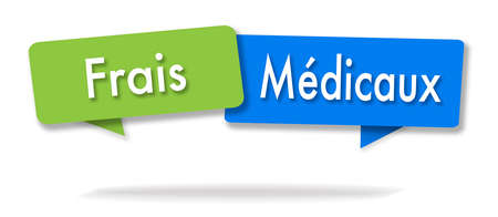Medical fees illustration in two colored bubbles in French blue and green
