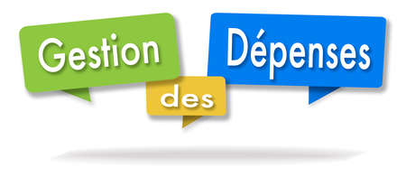Expenditure management illustration in three colored bubbles in French blue green and yellow Stock Photo