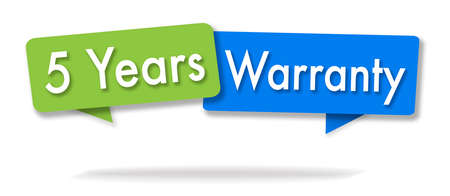 Warranty 5 years illustration in two colored bubbles blue and green