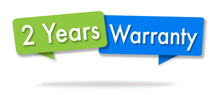 Warranty 2 years illustration in two colored bubbles blue and green