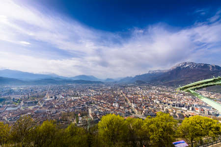 Grenoble city seeing from Bastille viewpoint